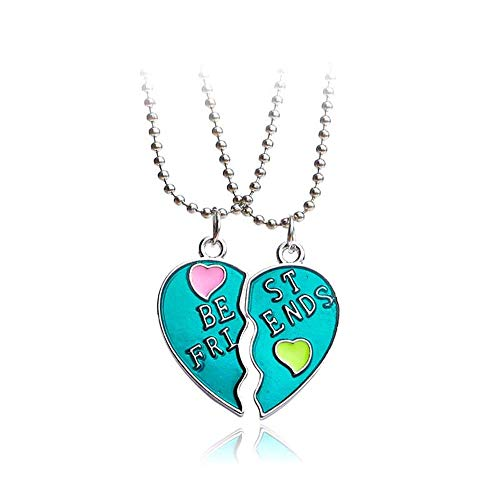 MJartoria BFF Necklaces for 2 Split Heart Weirdo 1 Weirdo 2 Best Friends Forever Pendant Friendship Set (Best Friends-Blue)