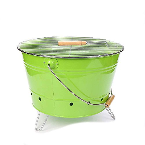 355P Portable Metal Large Barbecue Bucket/Stand/Rank/Grill With Charcoal Tray and wooden Handel set For Travel (Green) ()