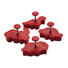 Cake Boss Decorating Tools 4-Piece Dinosaur Fondant Press Set, Red