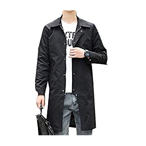 Ptyhk RG Men Casual Autumn Long Jacket Knee Length Overcoat Trench Coat Black L