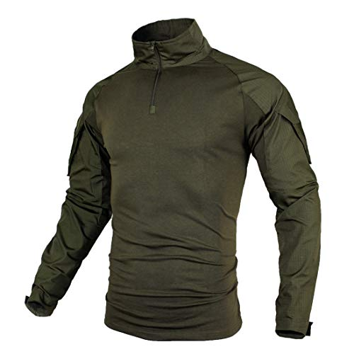 ZUOXIANGRU Tactical Combat Airsoft Military Shirt[ Cozy・Dry Quickly・Breathable ] Long Sleeve Assault Top (Army Green, US S=Asian Tag L)