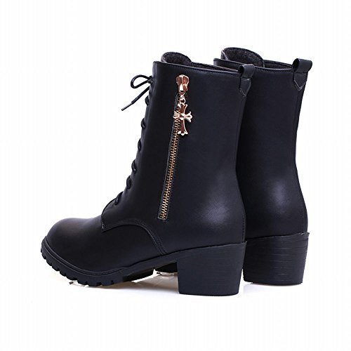 Women's Zippers Martin Black heel Carol Shoes Riding Boots Mid Modern 5Uqt6qOvn