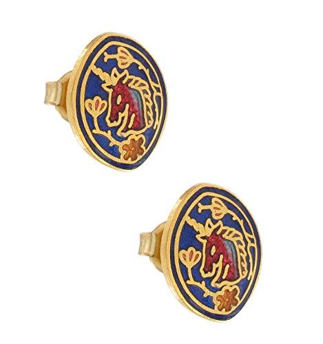 Blue Unicorn Gold Tone Cloisonne Oval Stud Pierced Earrings For Women Set