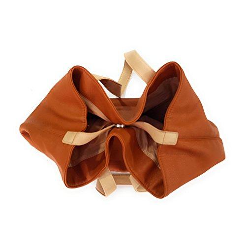 mujer hombro de 50X32X13 al Marrón Bolso cm marrón Cuero para Paquetage qRYFPwf