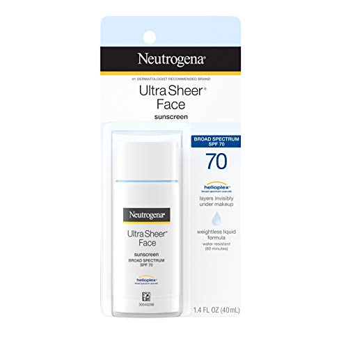 Neutrogena Ultra Sheer Liquid Daily Facial Sunscreen with Broad Spectrum SPF 70, Non-Comedogenic, Oil-free & PABA-Free Weightless Sun Protection, 1.4 fl. oz (Best Sunblock For Face Under Makeup)