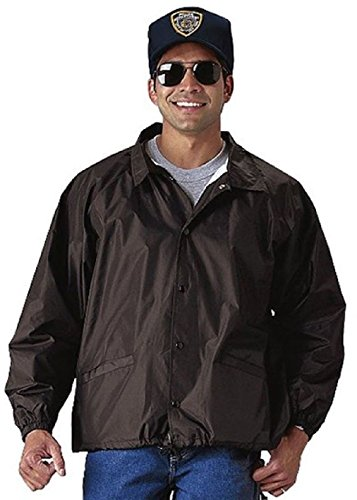 Coaches Nylon Flannel Jacket - Black Lightweight Nylon Law Enforcement Coaches Jacket