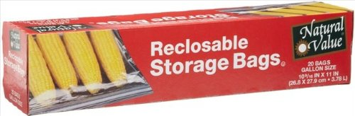 Natural Value Storage Bags Recloseable Gal 20-Count -Pack of 12