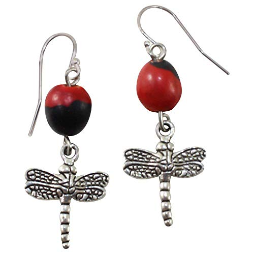 Peruvian Dragonfly Gift Earrings for Women - Meaningful Goof luck Huayruro Red & Black Seed- Dangles - Eco-friendly Red Earrings by ()