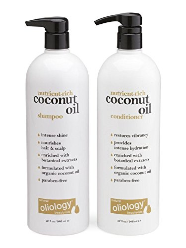 Oliology Nutrient Rich Coconut Oil Shampoo and Conditioner Combo Pack, 32 -
