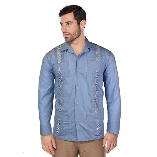 Maximos USA Guayabera Men's Cuban Beach Wedding Long Sleeve Button-up Casual Dress Shirt (Light Blue, XL)