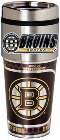 16-Ounce Stainless Steel and Black Vinyl Great American Products NHL Metallic Travel Tumbler