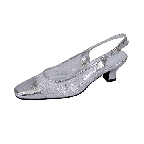 FLORAL Josie Women Extra Wide Width Closed Toe Mesh Slingback SILVER 7 - Elegant Evening Shoes