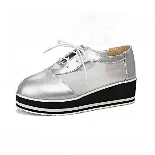 AllhqFashion Damen Schnüren Rund Zehe Mittler Absatz Blend-Materialien Rein Pumps Schuhe Silber