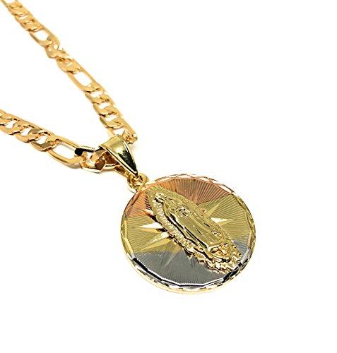 Fran & Co. Tri-Color Virgin Mary Pendant Necklace 26