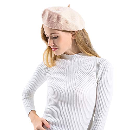 BAVST Women's Classic French Beret Solid Color Chenille Beanies for Women (Pink)