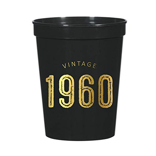 Vintage 1960 Cups for a 60th Birthday Party, Set of 10 Plastic Stadium Cups, Funny Fun Gag Gift 60th Birthday Decoration