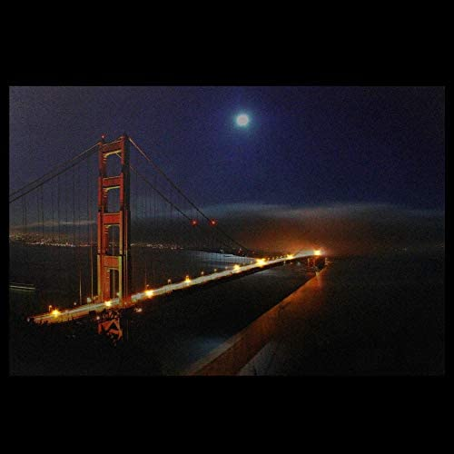 SAN FRANCISCO SKYLINE window poster GOLDEN GATE BRIDGE lights RARE HOT 24X36