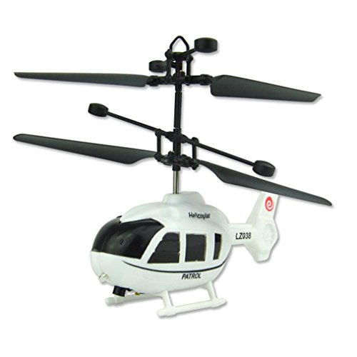 Mchoice Flying Mini RC Infraed Induction Helicopter Aircraft Flashing Light Toys For Kide (White)