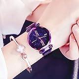 Ocamo Luxury Starry Sky Quartz Watch Magnet Strap Buckle Stainless Watch Women Gift Purple