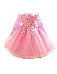 Myosotis510 Girls Lace Princess Baptism Dress Formal Party Wear for Toddler Baby Girl