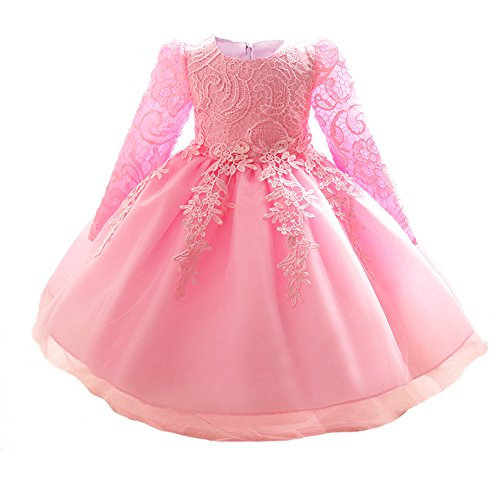 Myosotis510 Girls' Lace Princess Wedding Baptism Dress Long Sleeve Formal Party Wear for Toddler Baby Girl (3 Years, Pink)