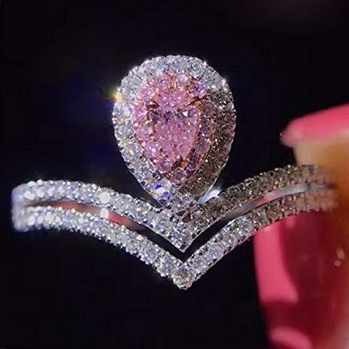 (Waldenn 3ct Pink Pear Cut CZ Water Drop Crown Band 925 Silver Womens Wedding Ring Sz 4-9 | Model RNG - 26870 | 4 )
