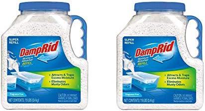 DampRid FG37 Moisture Absorber Refill, 7.5 lb, Fragrance Free 2-Pack