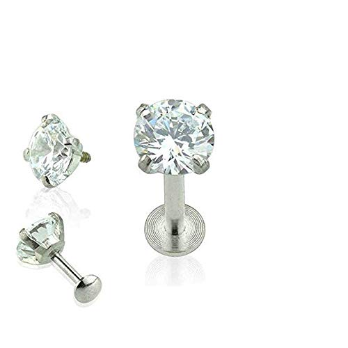 Labret Prong - Covet Jewelry 316L Surgical Steel Internally Threaded CZ Prong Set Labret/Monroe (16GA, Length: 4mm, Size: 3mm)