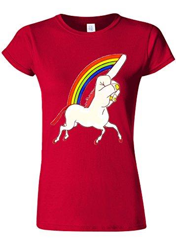 マティスエジプト有利Unicorn Middle Finger Funny Novelty Cherry Red Women T Shirt Top-XL