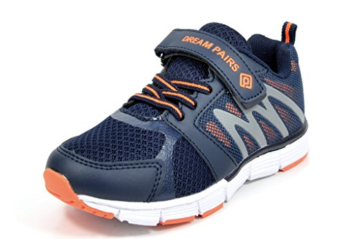 Dream Pairs 160481-K New Boys & Girls Casual Easy On Light Weight Sneakers Play Running Shoes NAVY ORANGE-SIZE-7
