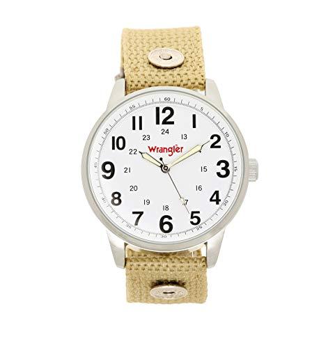 (Wrangler Men's Watch, 42mm Silver Case, White Face, Wheat Nylon Band, Second Hand (WRT2101-7B5))
