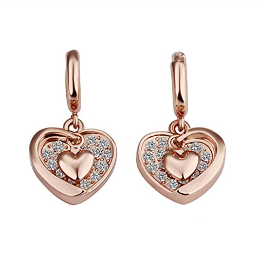 Chinatera Fashion Jewelry Rose Gold Plated Heart Zircon Earrings for Women Valentine's Day Birthday Holiday Gift (C)