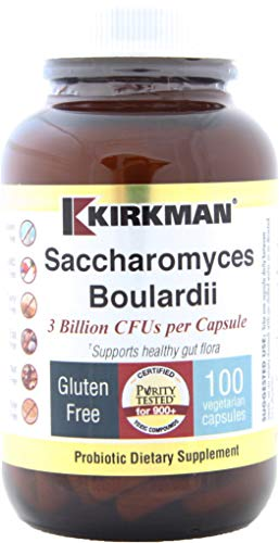 Kirkman Saccharomyces Boulardii    100 vegetarian Capsules    Probiotic    Supports the immune and gastrointestinal systems    Free of common allergens    Gluten and Casein Free