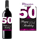 Pink Happy 50th Birthday Glossy Wine bottle label Celebration Gift for Women and Men. by Purpleproducts