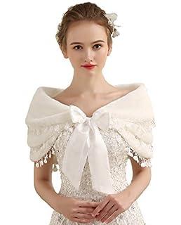 75bb13ab410 LUYAN Women Bridal Shawl Faux Fur High Grade 3 Layers Shrug Cape Bolero  Cloak 028