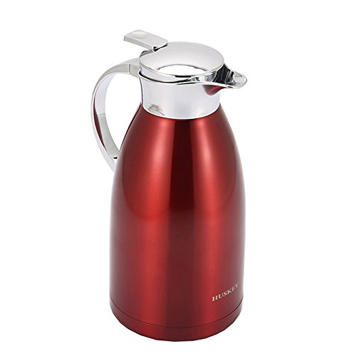 68 Oz 18/8 Stainless Steel Coffee Carafe Glass Pitcher Thermos Carafe Double Walled with press button Vacuum Carafe Insulated by Huskey (12Pcs Package) (12) by HUSKEY