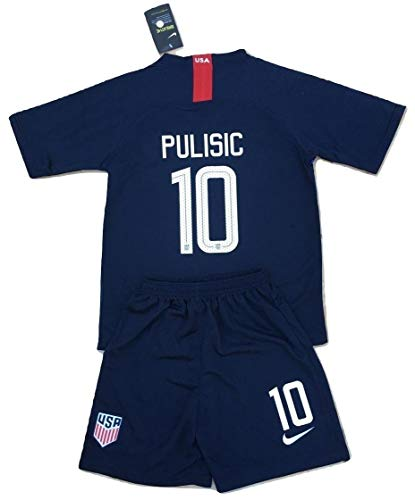 2019 Christian Pulisic #10 USA National Team Away Jersey and Shorts for Kids/Youths (11-13 Years Old)