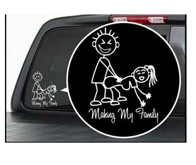 Esscoe skuqc006 2 pcs making my family vinyl car window sticker decals figure sexy bad car