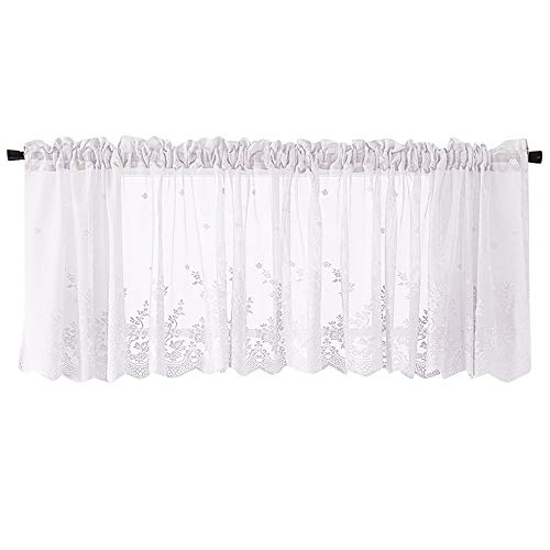 Fine Kitchen Curtains, Waffle Woven Textured Valance Water Repellent Short Tier Curtains for Kitchen Bathroom Living Room Window Covering Cafe Curtains (White) (Flower Valance White)