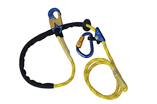 3M DBI-SALA 1234071 Adjustable Rope Positioning Lanyard with Rope Adjuster, Aluminum Carabiner and Snap hook, 8', Yellow/Blue