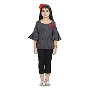 Je Taime Mumum's Cold Shoulder Black Polka Printed Casual top for1-17 Year Girls