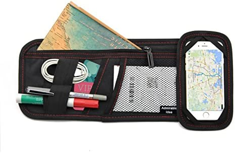 Admirable Idea Car Sun Visor Organizers for Electronic Accessories Auto Visor Accessories Storage Organizer Pockets for Documents CD Cards Sunglass Cellphone USB Cables