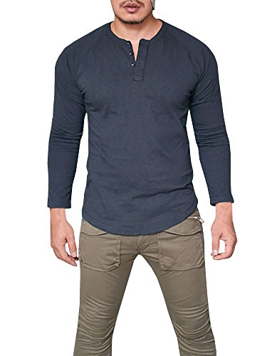 Remikstyt Mens Henley Long Sleeve Shirts Casual Slim Fit Pullover Button - Long Sleeve Mens Pullover