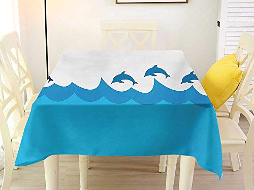 L'sWOW Square Tablecloth Cloth Sea Animals Lead and Three Dolphins Shadow on Waves Oceanlife Maritime Theme Image Blue Turqouise Quilted 36 x 36 Inch