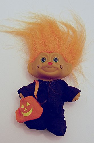 Russ Orange Haired Halloween Troll in a Black Cat Costume 3 Inches Tall -