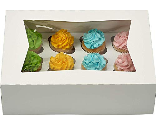 Pack of 25 White Cupcake Box with Window holds 12 INSERTS Included