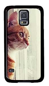 Diy Fashion Case for Samsung Galaxy S5,Black Plastic Case Shell for Samsung Galaxy S5 i9600 with Curious Cat