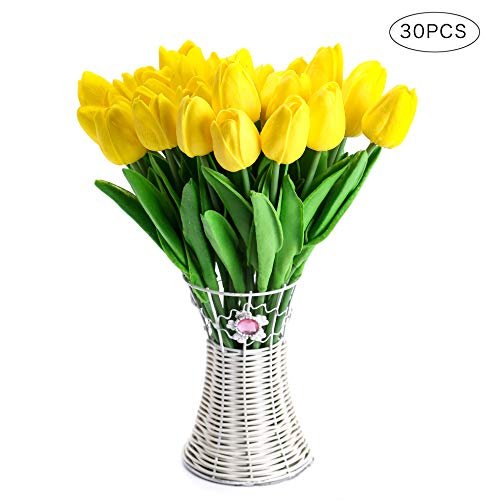 CCINEE Decora 30pcs Real Touch Tulips Yellow PU Tulips Artificial Flowers for Wedding Home Centerpiece Decoration