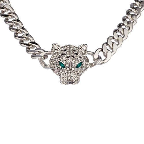 Lux Accessories Silver Pave Panther Chain Link Bling Necklace Matching Stud ()