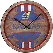 NCAA Kansas Jayhawks Team Logo Wood Barrel Wall ClockTeam Logo Wood Barrel Wall Clock, Team Color, One Size